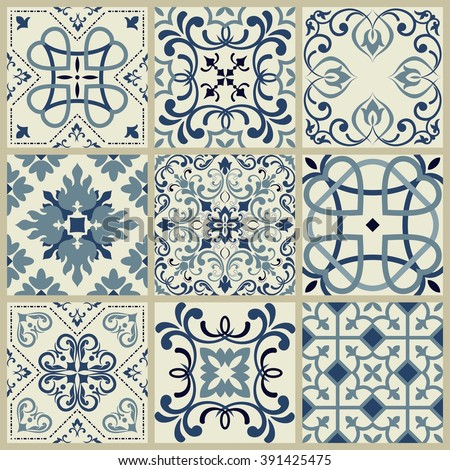 Collection of 9 ceramic tiles in retro colors - stock vector