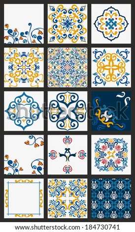 Collection of 15 ceramic tiles, orange-blue style  - stock vector