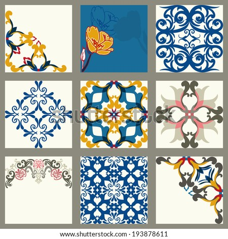 Collection of 9 ceramic tiles, orange-blue style - stock vector