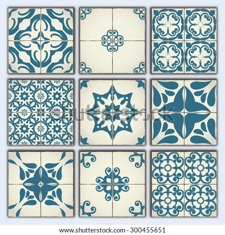 Collection of 9 ceramic tiles, retro blue style, part 4 - stock vector