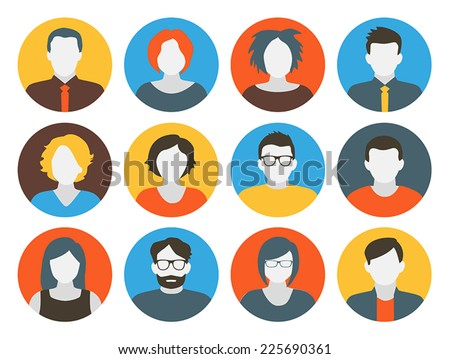 Collection of characters - avatars. Can be used for social networking. - stock vector