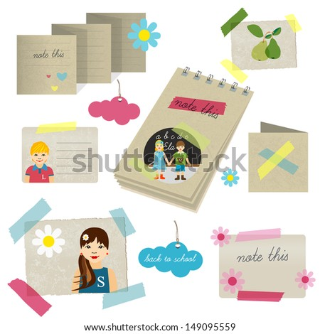 Collection of children papers scrapbooks, stickers and cards. Back to school design.