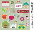 collection of children's stickers - faces, tags and objects - stock vector