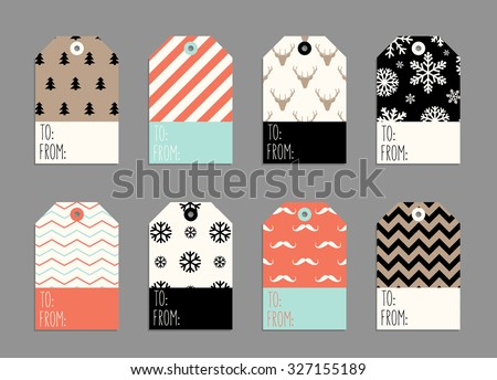 Collection of Christmas and New Year cute ready-to-use gift tags - stock vector