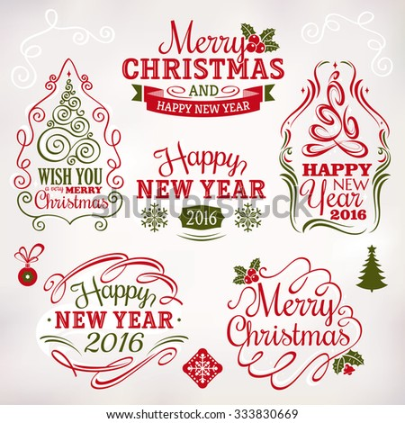Collection of Christmas and New Year decoration elements and labels - stock vector