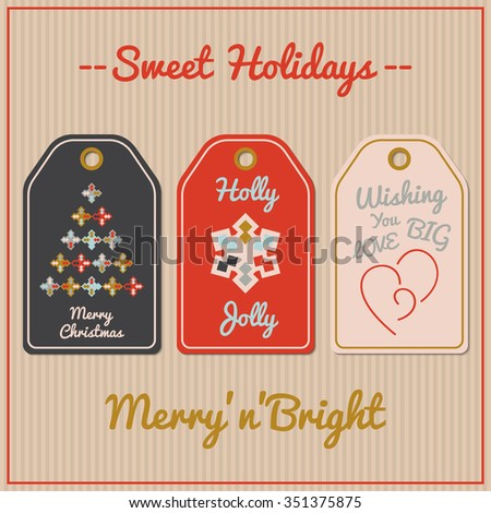 Collection of Christmas and New Year gift tags. Vector templates for cards or invitations. Christmas cards. Card design templates. Abstract Christmas tree. Abstract snowflake. Heart logo. - stock vector