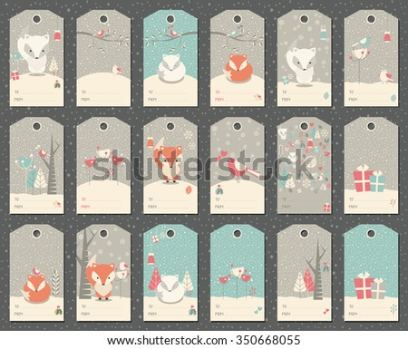 Collection of 18 Christmas and New Year gift tags with foxes, birds and trees, vector illustration - stock vector