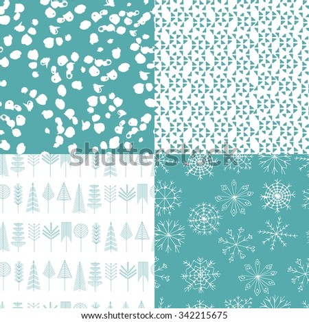 Collection of Christmas and Winter seamless patterns. Set of seamless abstract backgrounds with snowflakes, trees, ethnic design elements.