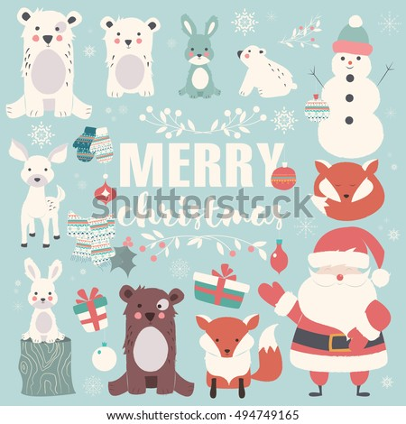 Collection of Christmas animals, lettering and Santa Claus, Merry Christmas, vector illustration