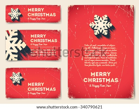 Collection of Christmas banners with snowflake and text - stock vector
