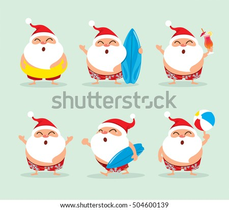 Collection of Christmas beach holiday Santa Claus