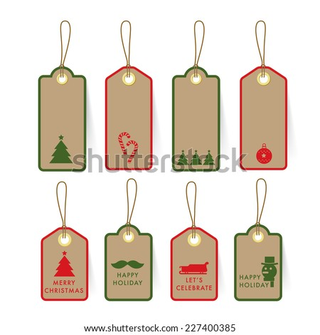 Collection of Christmas card Tag and Label on paper with element and text design template - stock vector