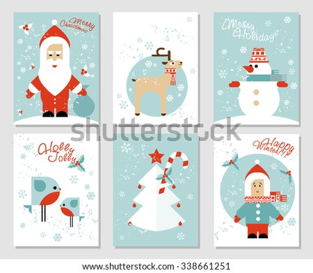 Collection of 6 Christmas card templates with Santa, deer, snowman, birds, Christmas tree, boy. Posters set. Flat vector illustration. Template for Greeting Scrapbooking, Congratulations, Invitations. - stock vector