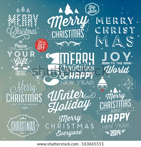 Collection of Christmas Decoration / Typographic Design With Labels / Hipster Icons / Retro Elements - stock vector