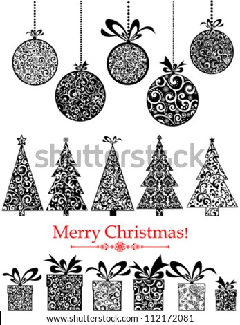 Collection of Christmas design elements isolated on White background. Vector illustration - stock vector