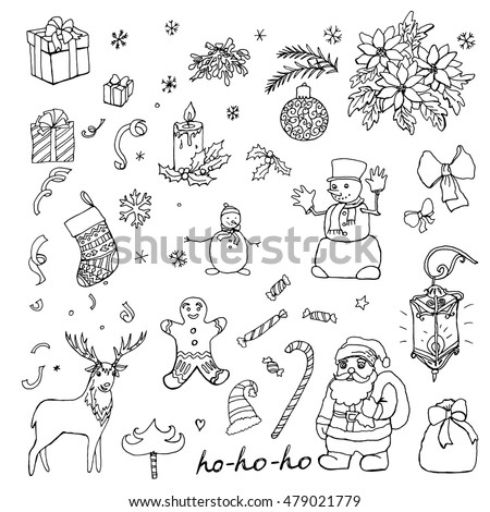 collection of Christmas hand drawn vector elements, Doodle style, Drawing zentangle, sketch