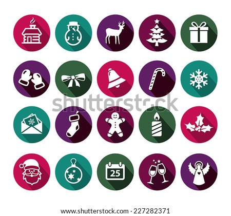 Collection of Christmas icons in flat design style. - stock vector
