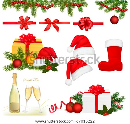 Collection of Christmas objects. Vector. - stock vector