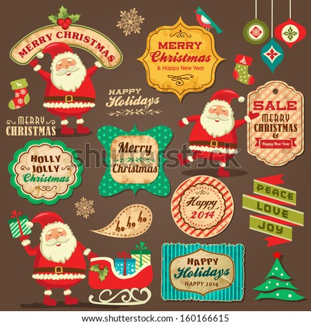 Collection of Christmas ornaments and decorative elements, vintage frames, labels, stickers - stock vector