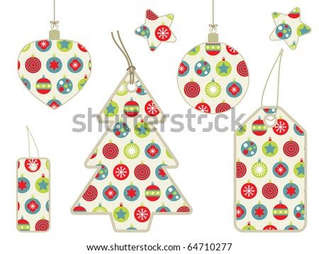 collection of christmas retro pattern tags and decorations - stock vector