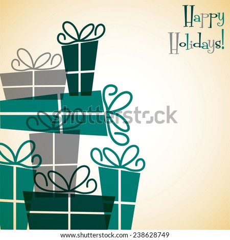 Collection of Christmas retro presents card in vector format. - stock vector