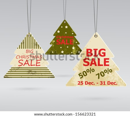 Collection of Christmas sale stickers - stock vector
