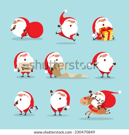 Collection of Christmas Santa Claus - stock vector