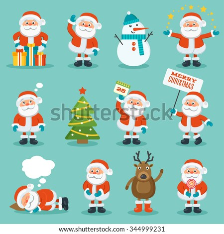 Collection of Christmas Santa Claus. Merry christmas, vector winter background. Set of cute cartoon Santa Claus and Christmas deer - stock vector