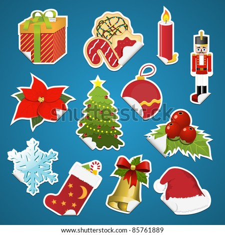 Collection of christmas stickers with corner. Vector illustration. - stock vector