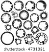 Collection of circular design elements of plants - stock vector