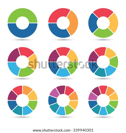 Collection of circular diagrams with 2, 3, 4, 5, 6, 7, 8, 9 and 10 segments - stock vector