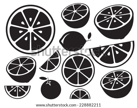 Collection of citrus slices - orange, lemon, lime and grapefruit, icons set, black isolated on white background, vector illustration.