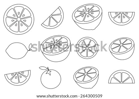 Collection of citrus slices - orange, lemon, lime and grapefruit, icons set, black isolated on white background, vector illustration. - stock vector