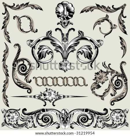 collection of classical ornate elements - stock vector