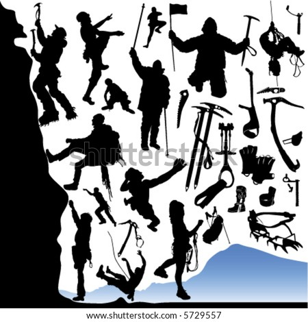collection of climber and equipments vector - stock vector