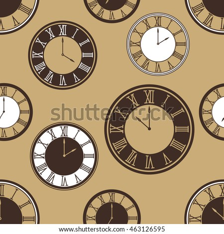 Collection of clock, seamless pattern vector. Hand drawn icon set. Doodle background with sketch objects and clock icon