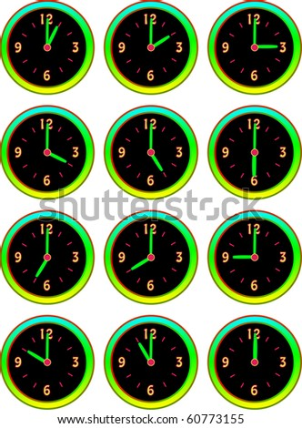 Collection of clocks showing each 5 minutes of the hour illustration vector - stock vector