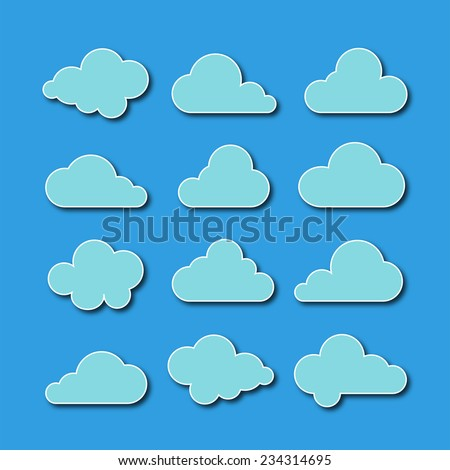 Collection of cloud icons  - stock vector