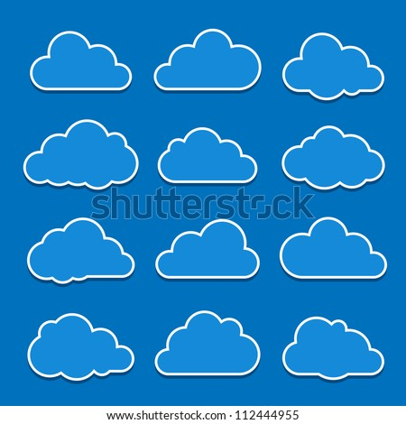 Collection of cloud icons. Vector illustration - stock vector