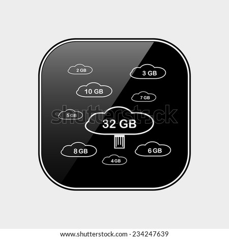 collection of cloud storage black glossy button, vector - stock vector