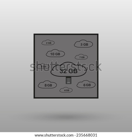collection of cloud storage on a gray background with shadow. vector - stock vector