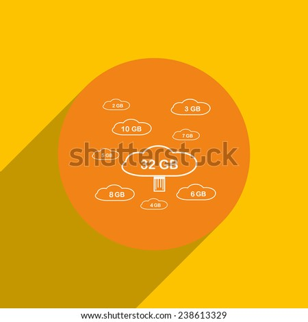 collection of cloud storage on an orange background with shadow, vector, EPS 10 - stock vector