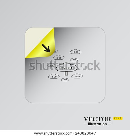 collection of cloud storage , sticker  self-adhesive paper. Vector illustration EPS 8 - stock vector