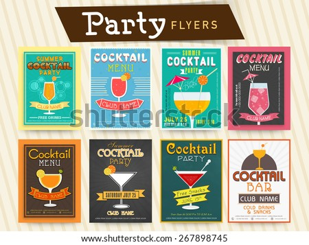 Collection of cocktail party celebration flyer, template or banner design. - stock vector