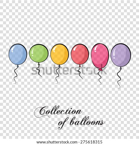Collection of color balloons. Background with multicolored balloons. Vector 10 EPS. Transparent - stock vector