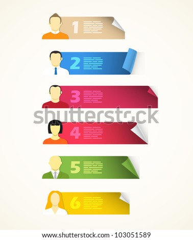 Collection of color blank paper sheets with avatar symbols - stock vector