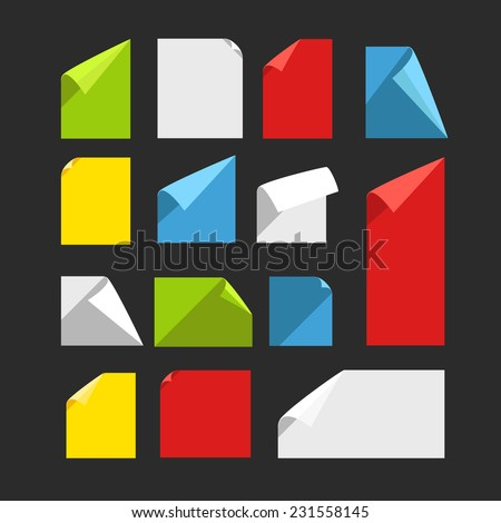 Collection of color blank paper sheets with bending corners. Flat design template  - stock vector