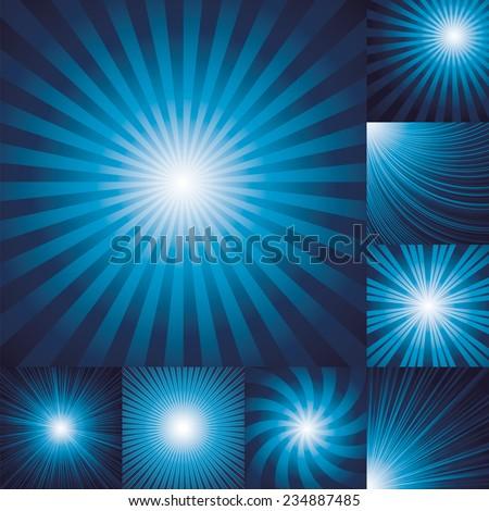 collection of color dark blue burst background. Vector illustration - stock vector