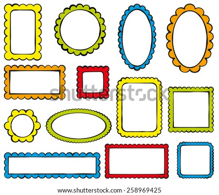 Collection of color scalloped frames - stock vector