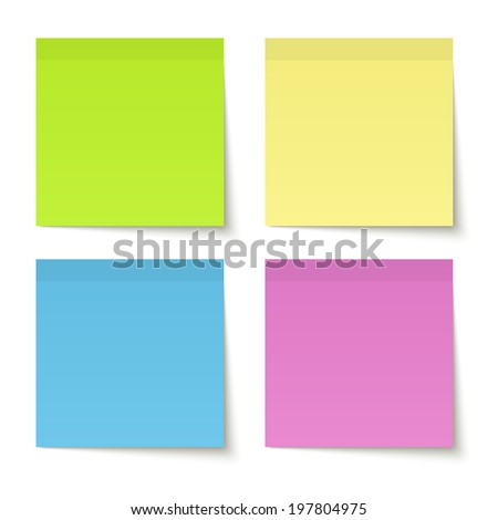 Collection of colored adhesive notes - stock vector